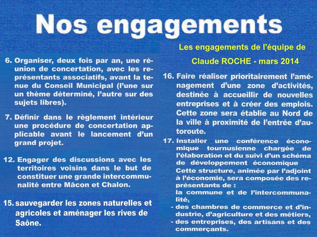 Les engagements électoraux de l'équipe de Claude Roche, mars 2014